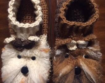 Yorkie: Slippers, Handmade, Crochet, Yorkie Style