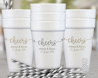 Cheers Wedding | Customizable Styrofoam Cups | Weddings, Engagement Bridal Parties or Shower | social graces and Co