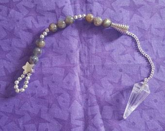 Labradorite and Quartz Pendulum