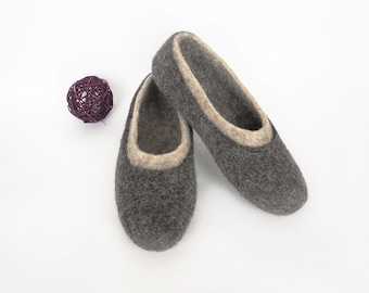 Men wool clogs. Felt house shoes handmade Slippers large size Men slippers wool is not painted soles non slip made to order