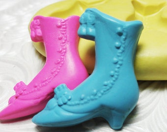 VINTAGE BOOTS Mold Silicone Rubber Push Mold for Resin Wax Fondant Clay Fimo Ice 5251