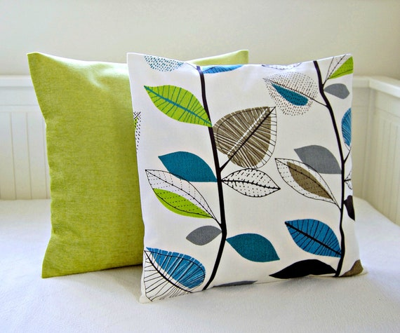 Decorating With Pillows: Decorative Pillows Teal Blue Lime Green Leaves Accent Lime