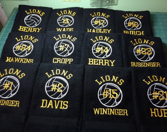 volleyball, personalized volleyball  towel, volleyball towel, volleyball gift, volleyball coach gift, Embroidered towel,