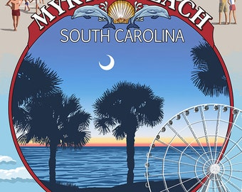 Myrtle Beach, South Carolina - Montage (Art Prints available in multiple sizes)