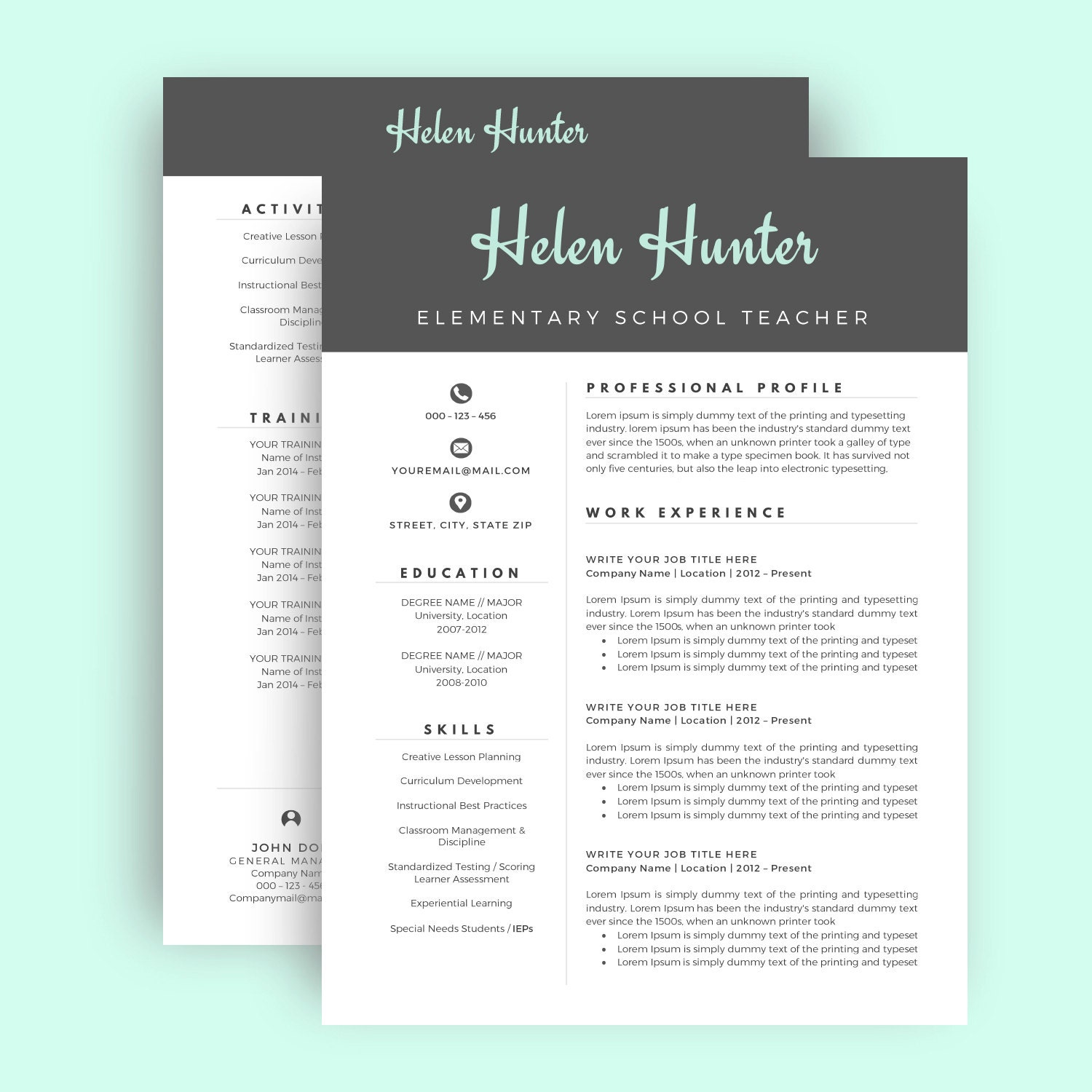 Resume Template / CV Template for Word Two Page Resume Cover