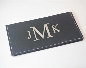 Monogrammed Checkbook Cover, Checkbook Wallet, Checkbook Cover, Vegan Leather, Engraved Checkbook Cover, Check Book Cover, Checkbook Pocket
