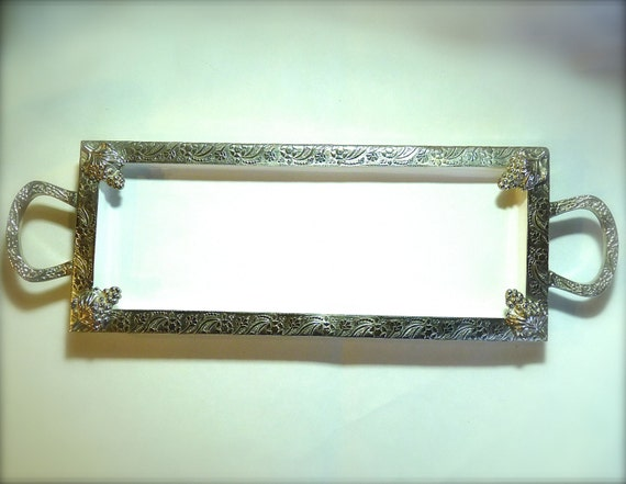 SERVING TRAY ~ PORCELAIN With Silver Tone Trim ~ Ornate Floral and Grape Design ~ 17-1/2 Inches Long ~ 5-1/2 inches wide ~ Vintage 1980s