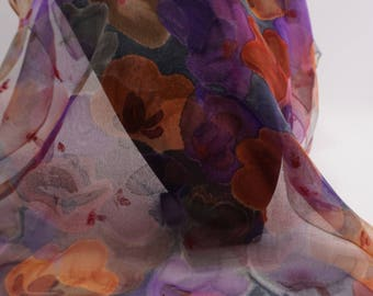 chiffon scarf silk hand painted, floral scarf, scarf, purple hand made gift