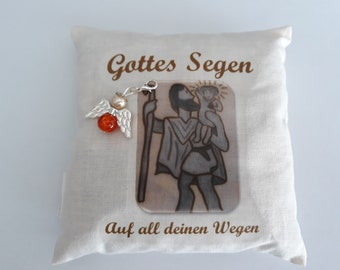 Car Cushion St. Christopher Gift set with guardian angel