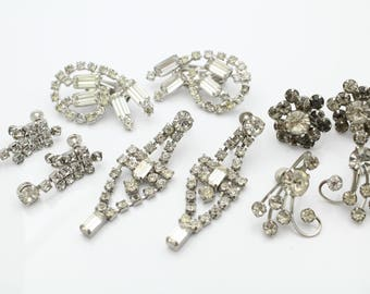 Five Pairs of Sparkling Vintage White Rhinestone Rhodium-Plated Clip Earrings. [11741]
