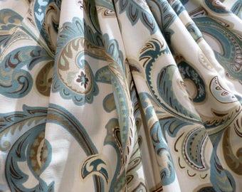 Fabric Bluegreen & Burnt Umber Paisley Leaf Scroll 3+ Yards