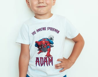 spider man Kids  T-Shirt, Childrens Toddlers T Shirt Top.
