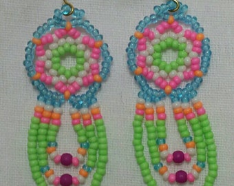 Tiny mandala fringe earrings