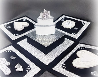 Handmade 25th Wedding Anniversary Exploding Box Card