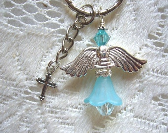 Aqua Crystal Guardian Angel Key Ring or Purse Bauble - Shipping Free In USA