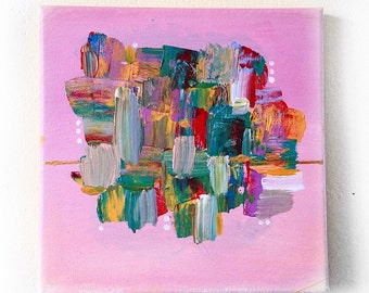 Abstract Boho Pink Colorful Wall Art Modern Painting on Canvas