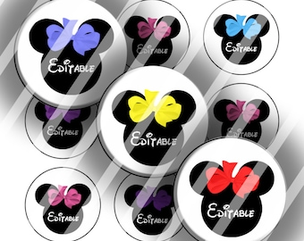 "Editable Bottle Cap Collage Sheet - Mouse Bows (106) - 1"" Digital Bottle Cap Images"