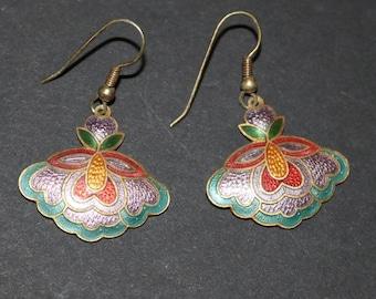 Vintage New Cloisonne Dangle Earrings