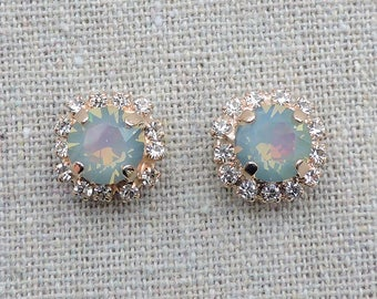 Swarovski Crystal Rainbow Opal Pave Halo Bridal Rose Gold Post Earrings Brilliant Cut Stone Studs Wedding Bridesmaids Ask Gifts
