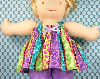 Striped doll dress and pants set, doll top, doll ruffled pants, 18 inch girl doll dress, 10 13 15 inch Waldorf doll, bitty babies, twin doll