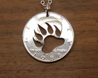 Bear Necklace, Keyring, Bear Paw, Bear Claw Pendant, Paw Jewelry, Mens Necklace, Bear Totem, Bear Key Chain, Hunting Jewelry