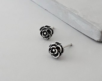 Rose Earrings - Christmas gifts under 30 - Rose Stud Earrings - Tiny Stud Earrings - Silver Stud Earrings - Flower Stud Earrings