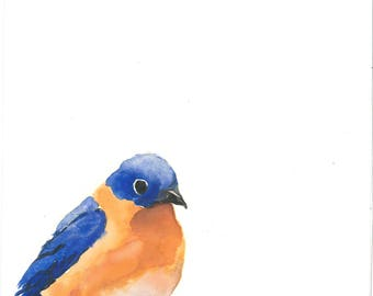 Bluebird Sorrow Watercolor  Print 8x8""