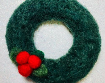 Small Felted Holiday Wreath