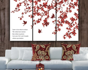 Cherry Blossom Trees - 3 panel set. With Reds & Burgundies. Great Large Wall art, Canvas art, Choose up to 6 ft. wide option, Optional quote