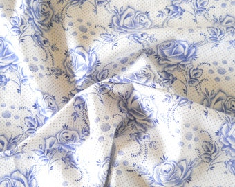 blue roses fabric french fabric antique floral fabric blue roses fabric quilting fabric patchwork fabric 203