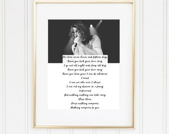 Chris Cornell lyrics, Chris Cornell gifts, Printable lyrics wall art, Music poster, Downloadable black white A4, Nothing compares to you