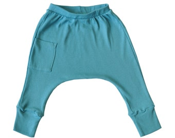 Baby Boy Clothes - Baby Clothes, Baby Harem Pants, Baby Leggings, Baby Boy Leggings, Organic Baby Clothes, Baby Boy Harem Pants - Turquoise