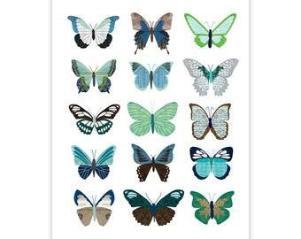 Green and Blue Butterflies - Collage Illustration Art Print Poster - Wall Art Print