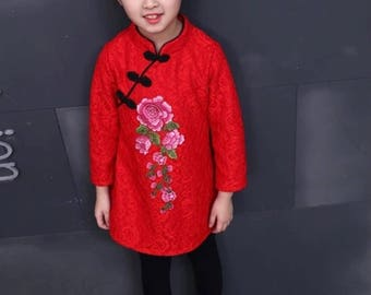 LAST ONE! Red Floral Lace Cheongsam Fleece Blouse for Kids Chinese New Year