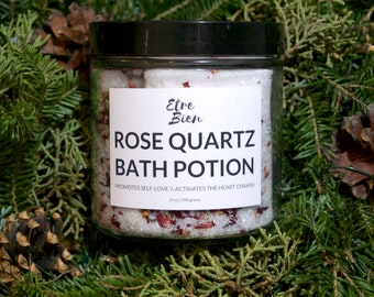 Rose Quartz Bath Potion // Promotes Self-Love + Opens Your Heart Chakra \\ High Vibe Self-Care