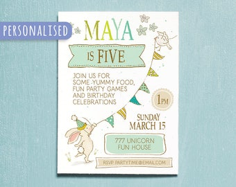 Kids Invitation, Children Birthday Party Printable Invitation, Personalised Boy Girl Digital Party Invite, Illustrated Kids Birthday Card,