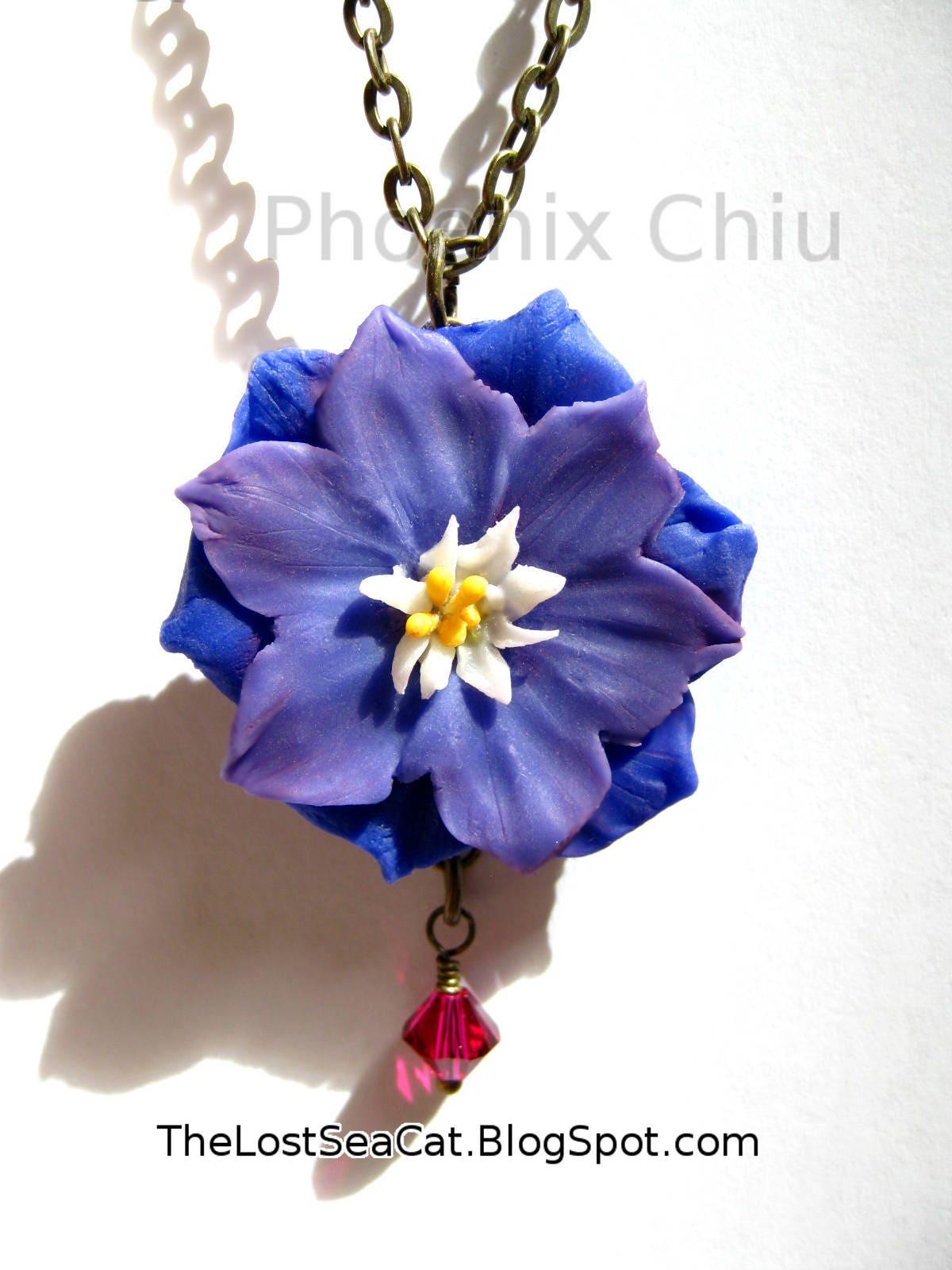 Larkspur Necklace July Birthday Botanical Necklace July