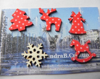 CHRISTMAS! 5 embellishments Christmas 2 cm in red with white polka dots