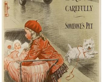 KA04 Vintage Be Kind to Animals Poster Print