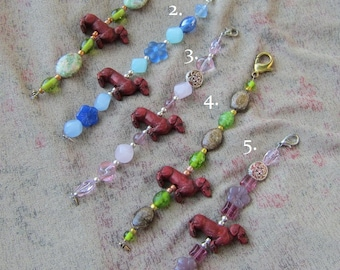 DACHSHUND Red Clay Bead Purse Charm/Zipper Pull Glass/Stone/Metal Beads...choose one style