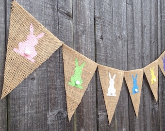 Easter Burlap Banner Easter decoration Easter decor Easter bunny banner Easter bunny decoration burlap banner Easter bunny cotton tail