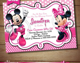 HUGE SELECTION Mickey Minnie Mouse Second Birthday Invitation
