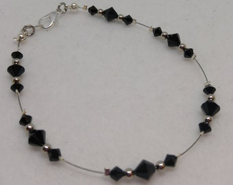 Jet Black Swarovski Crystal and Steel Anklet (goes with everything!)