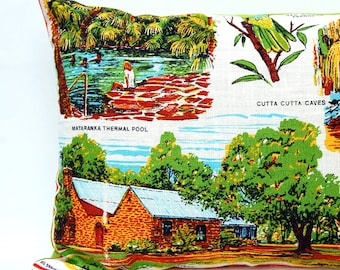 Cushion Cover Vintage Linen Tea Towel Top End Northern Territory Australia