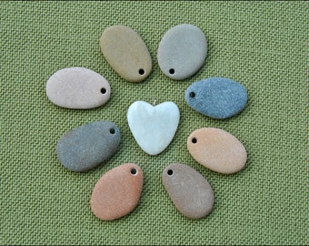 8 beach Stone Pendants and 1 Stone Heart pendant-Rock for paint-Ready for decoration-Drilled stones-Heart Stone (PC)