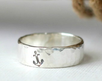 Sterling Silver Anchor Ring, Sterling Silver Nautical Rings, Anchor Rings Jewelry, Ring with Anchor