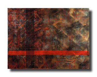 """Large Abstract painting 30""""x46""""x1.75"""" mixed media on Gallery canvas """"Compiled"""" by K. Davies"""