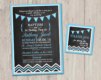 Baptism and birthday invitation etsy baptism birthday invitation faux chalkboard baptism invitation birthday invitation combined party filmwisefo Images