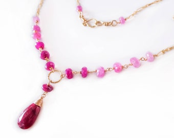 Pink Ruby Necklace Pink Sapphire Necklace Gemstone Necklace Sapphire Bridal Necklace Red Ruby Statement Necklace Gold Pink Gemstone Necklace