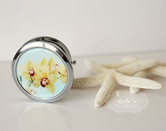 """Photo Mirror Compact- """"Yellow Orchids"""", Flower Photo Compact Yellow Orchids Photograph, 3"""" Double Sided Compact Mirror, Engravable Gift Item"""